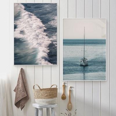 바다 풍경 그림 일러스트 인테리어 포스터 액자_Misty Wave