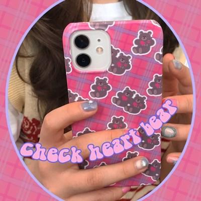 [뮤즈무드] Check Heart Bear 아이폰케이스