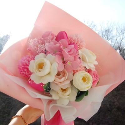 분홍색 핑크색 여자친구 화이트데이 비누꽃다발