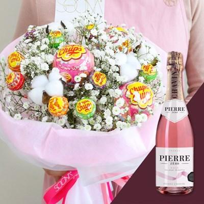 온리유 솜사탕 꽃다발 & 와인 세트 [전국택배]