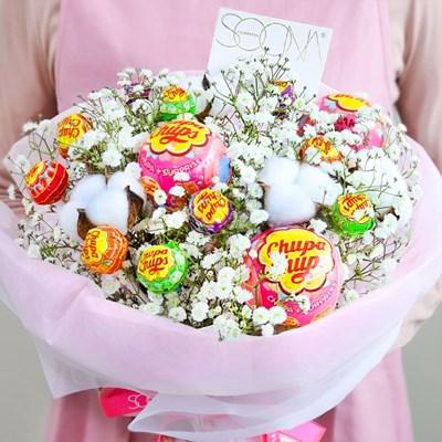 온리유 솜사탕 꽃다발 (생화+사탕) [전국택배]