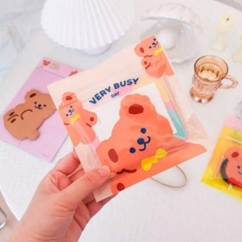 곰돌이 쪼꼬미 비닐 포장 지퍼백 멀티 파일 4종 4p 세트