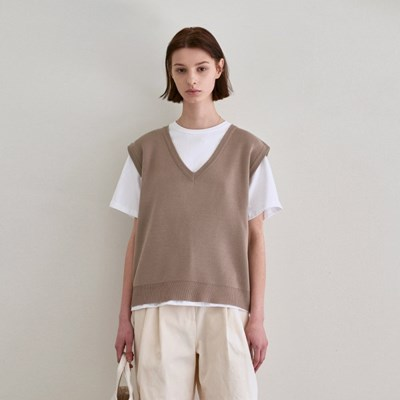 SPRING LIGHT KNIT VEST_BEIGE