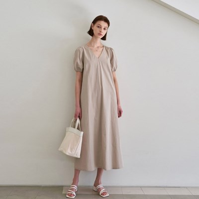 BANDING POINT LONG DRESS_BEIGE