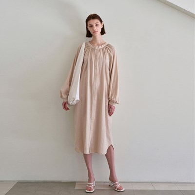 SIMPLE SHIRRING LONG DRESS_BEIGE