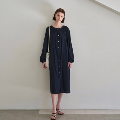 SIMPLE SHIRRING LONG DRESS_NAVY