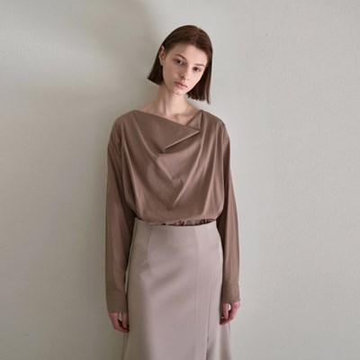 SENSUAL DRAPE BLOUSE_BROWN