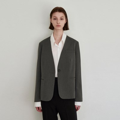 NO COLLAR CLASSIC JACKET_CHARCOAL
