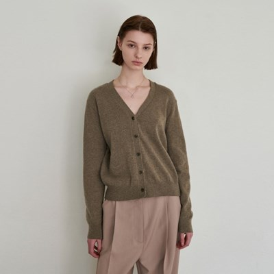 RENEW CASHMERE CARDIGAN_KHAKI BROWN