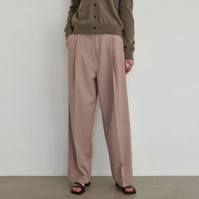 POSH WIDE TUCK SLACKS_BEIGE