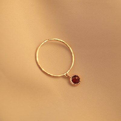 [Silver925] LU153 Antique red cubic ring