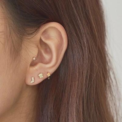 14K 베이비 스타 미니 링 귀걸이 (한쪽)