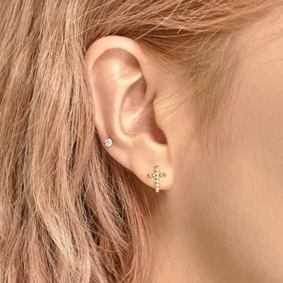 14K 스터드 십자가 귀걸이 & 피어싱 (한쪽)