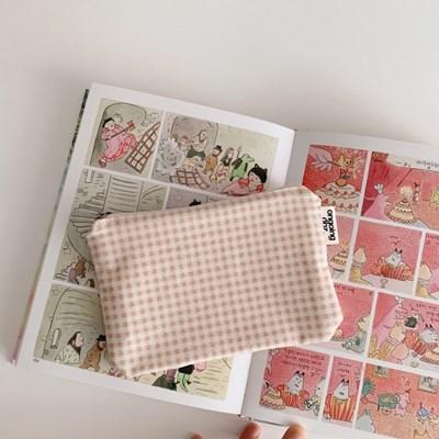 레터 파우치(letter pouch)-핑크 체크