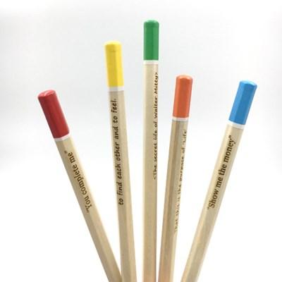 나미브 원목연필 woodpencil-컬러팁5본입세트-메시지각인2B육각연필