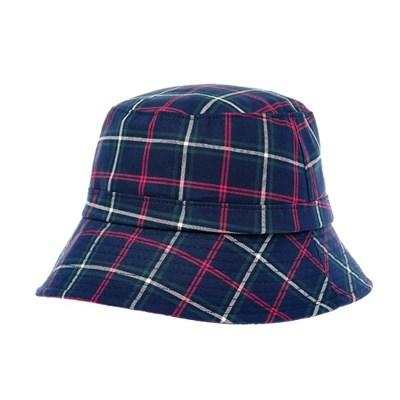 KKU03.클래식체크 여성 벙거지 모자 버킷햇 봄 가을 챙모자