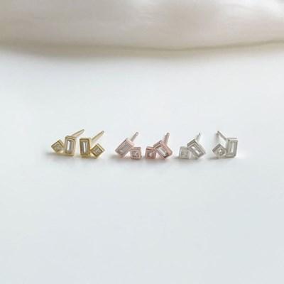 (silver 92.5) 스퀘어큐빅 귀걸이