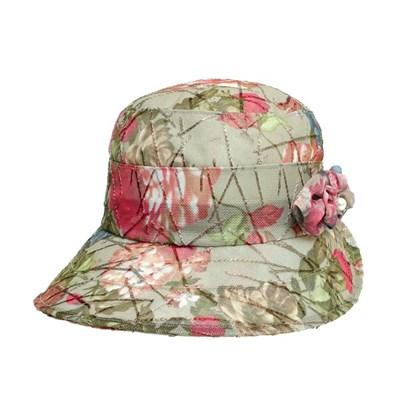 KCU08.꽃나염 코사지 중년 여성 벙거지 모자 버킷햇