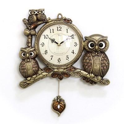 (kspz364)저소음 턱시도 부엉이 시계 (골드)_(1534027)