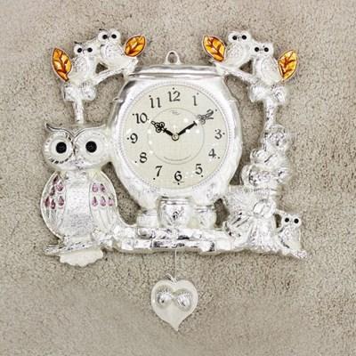 (kspz362)짝 부엉이 시계 은_(1534025)