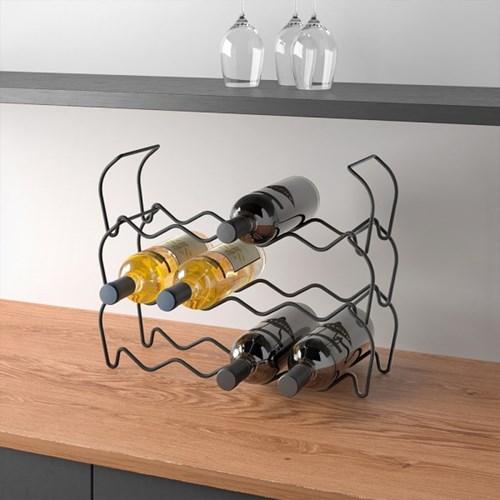 메탈텍스 와인바 적재형 와인거치대 라바 블랙_(4218690)
