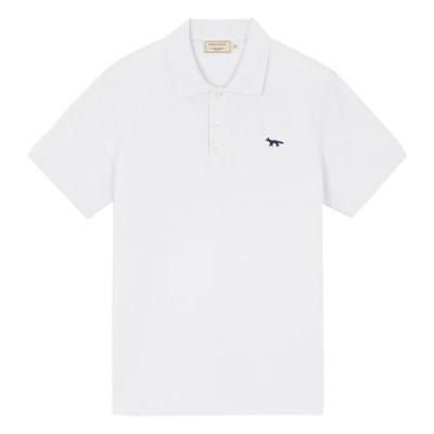 메종키츠네 네이비폭스 패치 클래식 폴로 티셔츠 화이트