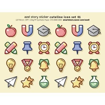 아젤스토리스티커_ cute line icon set 1~10