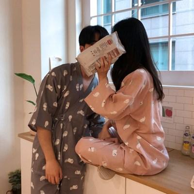 냥이 유카타 순면 커플 잠옷 파자마