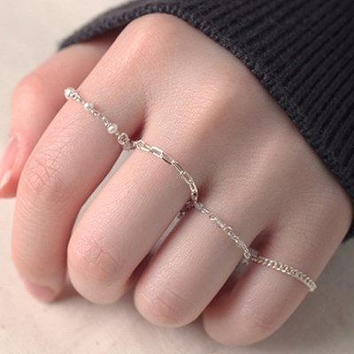 [Silver925] LU170 Silver layered chain ring