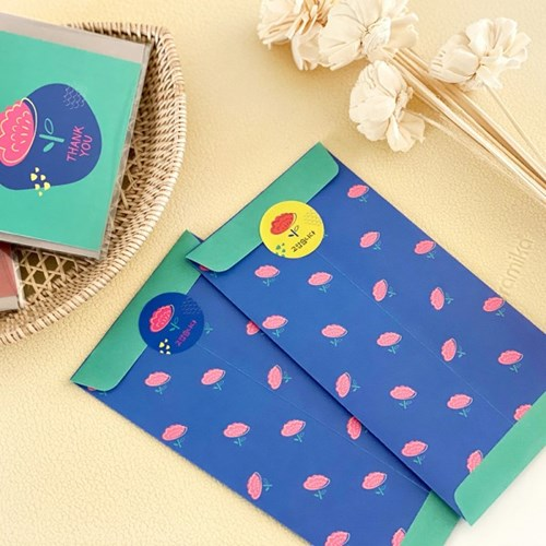 블룸블룸 패턴 봉투 : 네이비(4개입)