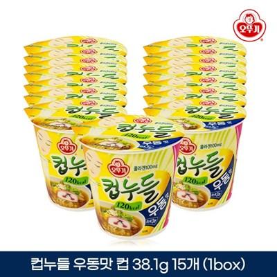 오뚜기 컵누들 우동맛 컵 38.1g 15개입 1박스
