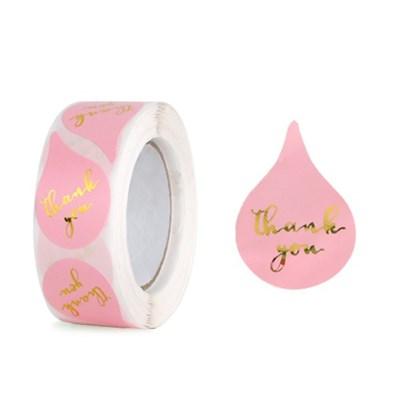 땡큐 핑크 물방울 벌크팩 라벨 (500개)