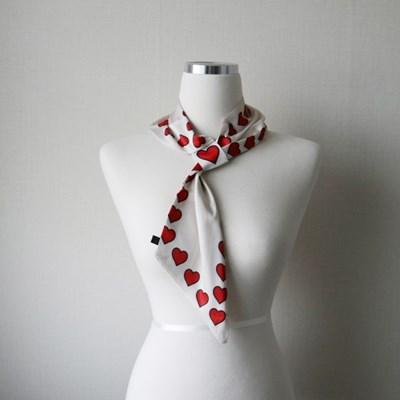 하트 패턴 실크 고리 쁘띠 트윌리 스카프 (2color)