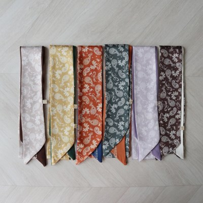 페이즐리 양면 실크 쁘띠 트윌리 여성 스카프 (6color)