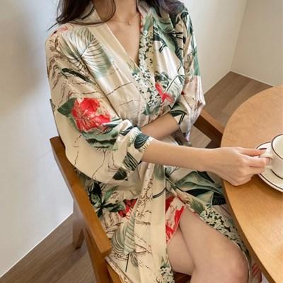 인견 레이온 트로피칼 여름 슬립 가운 세트 잠옷 파자마