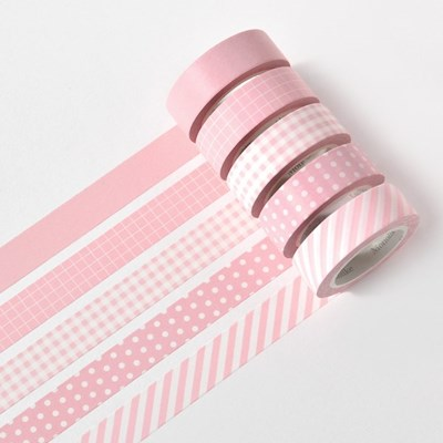 아르떼 마스킹테이프 파밀리에 5P SET - Powder pink