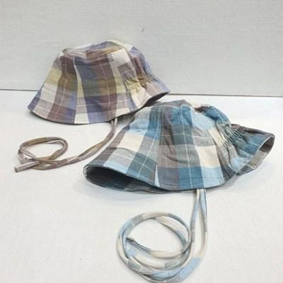 턱끈 밴딩 체크 꾸안꾸 패션 보넷 버킷햇 벙거지 모자