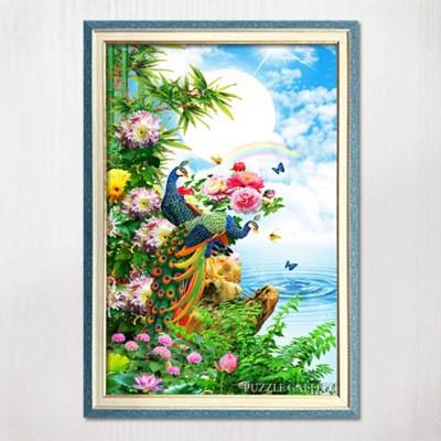 1000피스 직소퍼즐 화려한 공작 화원 수지블루액자세트
