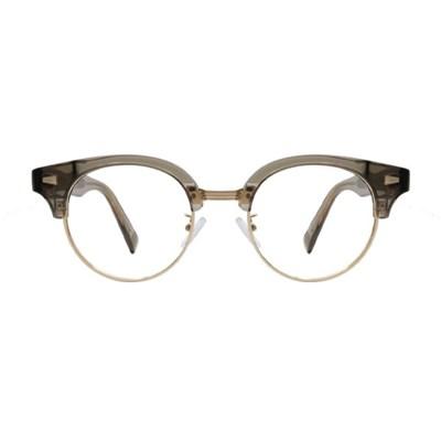Rinser BROWN-GRAY CRYSTAL 오버사이즈 라운드 하금테 안경