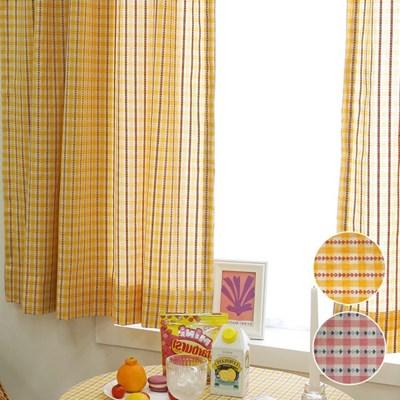 작은창 가리개 커튼- 깅엄체크 플라워자수 2color
