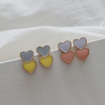 파스텔 미니 러블리 하트 귀걸이 티타늄침 (2color)