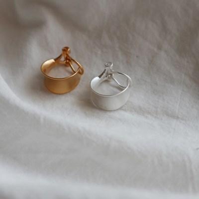 납작 무광 링 원터치 귀찌 이어커프 (2color)