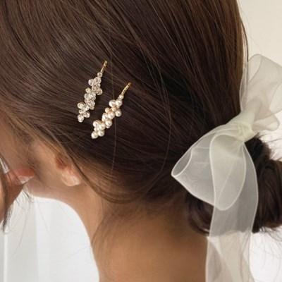 [2 color] 방울 진주 큐빅 앞머리 헤어삔 웨딩 실 핀