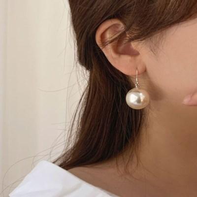 [귀찌가능] 왕 진주 20mm 은 침 드롭 웨딩 귀걸이