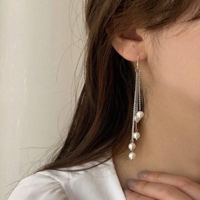 [귀찌가능] 웨딩드레스 신부진주 촬영 진주롱 드롭 귀걸이