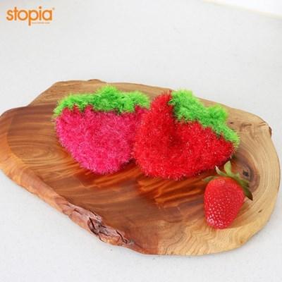 두툼한 딸기 아크릴 수세미(핑크) 1+1