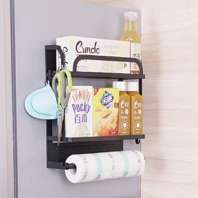 OMT 무타공 철재 2단 주방수납 냉장고 자석선반 거실 욕실 활용