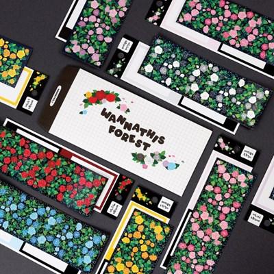 워너디숲의 장미 스티커 6가지 컬러 세트