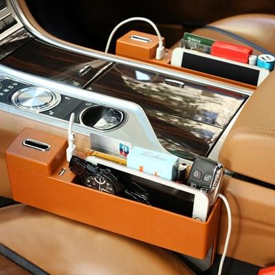 차량용 USB 다용도 사이드포켓 양방향 정리함 브라운 수납함