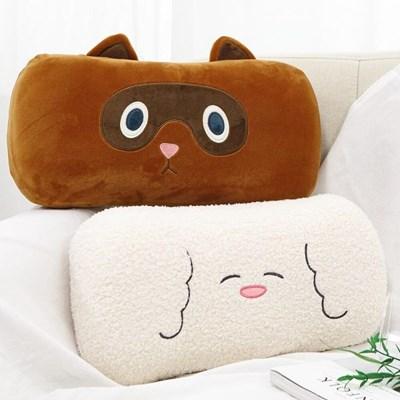 동물시리즈 너구리 뽀글 메모리폼 다용도 쿠션 낮잠